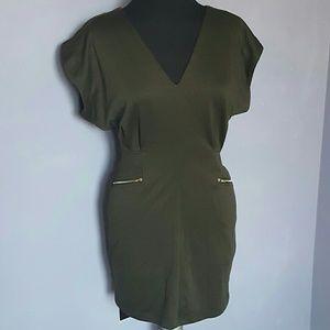 SNAP Olive Green Stylish Zipper Dress MEDIUM